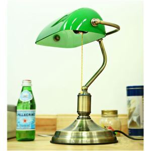 Retro Style Green Shade Fancy Table Lamp