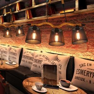 Retro Creative Personality Coffee Hall Three Pastoral Restaurant Bar head Rope Chandelier