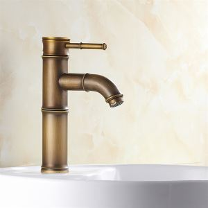 Antique Brass Finish Kitchen Faucet - Bamboo Shape Design
