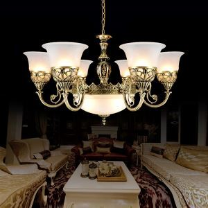 Bronze Chandeliers Nine-Lights Moire-Glass European Retro Classic