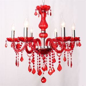 Chandelier Red Crystal Luxury Modern 6 Lights Ceiling Lights