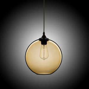 Modern Minimalist Glass Pendant Light Globe Pendant with 1 Light Amber Color Dining Room Lighting Ideas Living Room Bedroom Lighting(Color of Love)