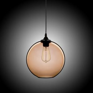 Modern Minimalist Glass Pendant Light Globe Pendant with 1 Light Coffee Color Dining Room Lighting Ideas Living Room Bedroom Lighting(Color of Love)