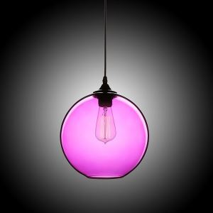 (In Stock) Modern Minimalist Glass Pendant Light Globe Pendant with 1 Light Purple Color Dining Room Lighting Ideas Living Room Bedroom Lighting