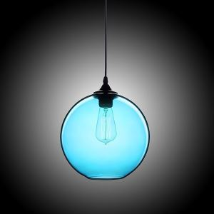 Modern Minimalist Glass Pendant Light Globe Pendant with 1 Light Ingot Blue Color Dining Room Lighting Ideas Living Room Bedroom Lighting(Color of Love)