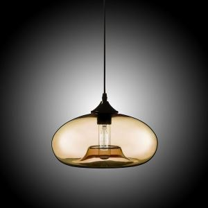 Modern Glass Pendant Light  Hand Blown Colorful Bell Shaded  with 1 Light Amber Color Dining Room Lighting Ideas Living Room Bedroom Lighting(Color of Love)