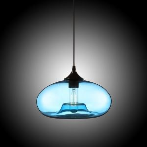 Modern Glass Pendant Light  Hand Blown Colorful Bell Shaded  with 1 Light Ingot Blue Color Dining Room Lighting Ideas Living Room Bedroom Lighting(Color of Love)
