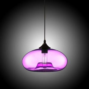 Modern Glass Pendant Light  Hand Blown Colorful Bell Shaded  with 1 Light Purple Color Dining Room Lighting Ideas Living Room Bedroom Lighting