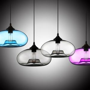In Stock Modern Glass Pendant Light Hand Blown Colorful Bell Shaded With 1