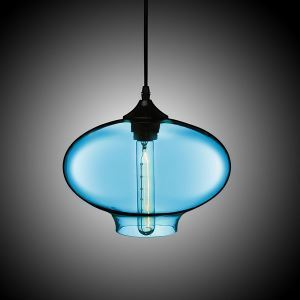 (In Stock) Hand-Blown Glass Pendant Light Fish Bowl Shade Ceiling Fixture with 1 Light  Blue Color Dining Room Lighting Ideas Living Room Bedroom Lighting(Color of Love)