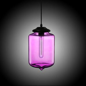Modern Transparent Glass Pendant Light  Hand Blown Colorful with 1 Light Purple Color Dining Room Lighting Ideas Living Room Bedroom Lighting