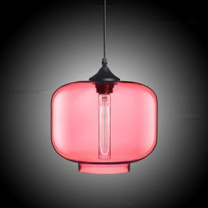 (In Stock) Modern Transparent Glass Pendant Light  Hand Blown Colorful with 1 Light Dull Red Color Dining Room Lighting Ideas Living Room Bedroom Lighting