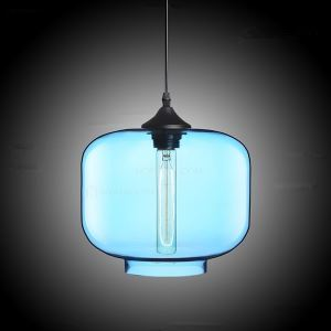 (In Stock) Modern Transparent Glass Pendant Light  Hand Blown Colorful with 1 Light Ingot Blue Color Dining Room Lighting Ideas Living Room Bedroom Lighting