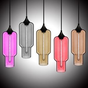 Modern Transparent Glass Pendant Light Hand Blown Colorful with 1 Light Dining Room Lighting Ideas Lighting Living Room Bedroom Ceiling Lights