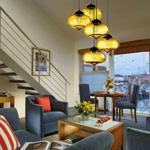 (In Stock)Modern Transparent Glass Pendant Light Hand Blown Colorful Bell Shaded with 1 Light Dining Room Living Room Bedroom Ceiling Lights