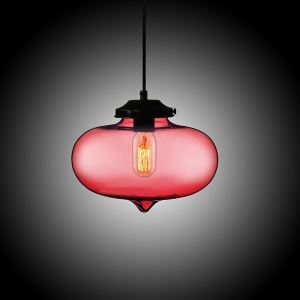 (In Stock) Modern Transparent Glass Pendant Light Hand Blown Colorful Bell Shaded with 1 Light Dull Red Color Dining Room Lighting Ideas Living Room Bedroom Lighting