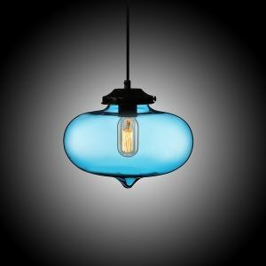 (In Stock) Modern Transparent Glass Pendant Light Hand Blown Colorful Bell Shaded with 1 Light Ingot Blue Color Dining Room Lighting Ideas Living Room Bedroom Lighting