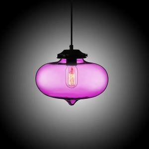 (In Stock) Modern Transparent Glass Pendant Light Hand Blown Colorful Bell Shaded with 1 Light Purple Color Dining Room Lighting Ideas Living Room Bedroom Lighting