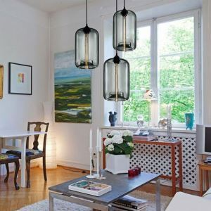 (In Stock) Modern Transparent Glass Pendant Light  Hand Blown Colorful with 1 Light Dining Room Lighting Ideas Lighting Living Room Bedroom Ceiling Lights
