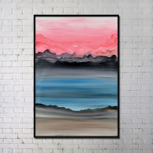 Contemporary Wall Art Abstract Sunset Printing Hand Painting with Black Frame 32'*48' B