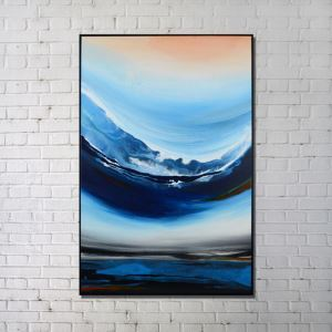 Contemporary Wall Art Wave Printing with Black Frame 32'*48' A