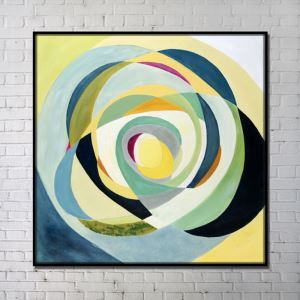 Contemporary Wall Art Multi Color Abstract Printing with Black Frame 40'*40'