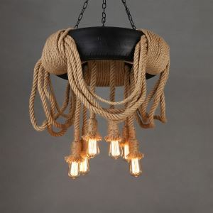 Creative Tire Hemp Rope Chandelier Restoring Ancient Ways