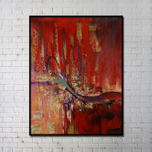 Contemporary Wall Art Red Abstract Printing with Black Frame 36'*48'