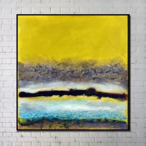 Contemporary Wall Art Yellow Abstract Wall Print with Black Frame 40'*40'
