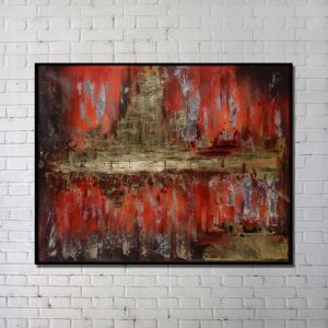 Contemporary Wall Art Red Abstract Wall Print with Black Frame 48'*36'
