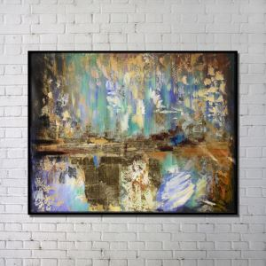Contemporary Wall Art Fairyland Abstract Print with Black Frame 48'*36'