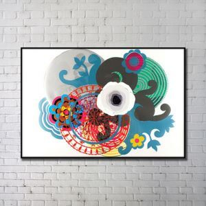 Contemporary Wall Art Colorful Abstract Wall Print with Black Frame 32'*48'