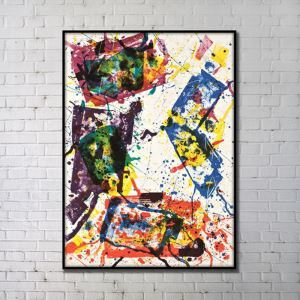Contemporary Wall Art Colored Abstract Wall Print with Black Frame 36'*48' A
