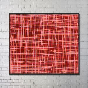 Contemporary Wall Art Lines Abstract Wall Print with Black Frame 43'*40' B