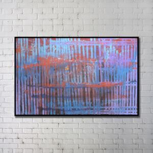 Contemporary Wall Art Lines Abstract Wall Print with Black Frame 38'*32' C
