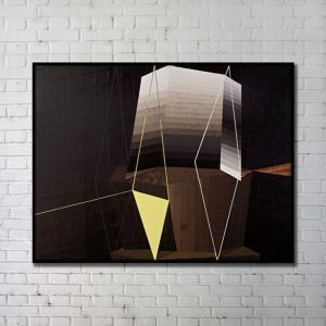 Contemporary Wall Art Geometric Abstract Print with Black Frame 48'*36' E
