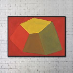 Contemporary Wall Art Colorful Geometric Abstract Print with Black Frame 48'*36' A