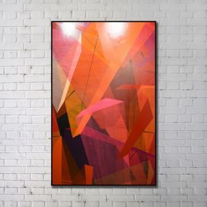 Contemporary Wall Art Colorful Geometric Abstract Print with Black Frame 28'*48' E