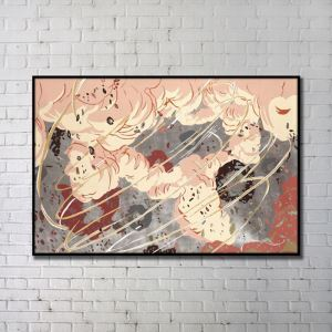 Contemporary Wall Art Wind Abstract Wall Print with Black Frame 48'*28' G