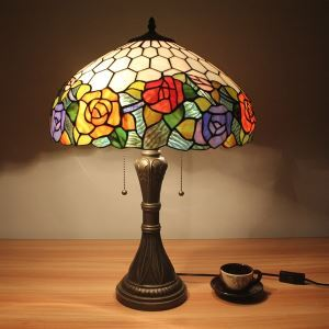 Tiffany Table Lights with 2 Lights in Blossoms Design-Electroplate Finish