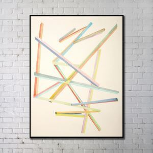 Contemporary Wall Art Wood Sticks Abstract Wall Print without Frame 24'*36'