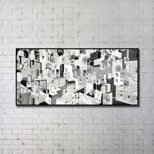 Contemporary Wall Art Black-and-white Abstract Wall Print without Frame 48'*24'