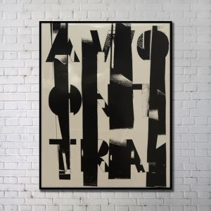 Contemporary Wall Art Black Abstract Wall Print without Frame 36'*48' B