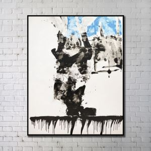 Contemporary Wall Art Waterfall Abstract Wall Print with Black Frame 36'*48' A