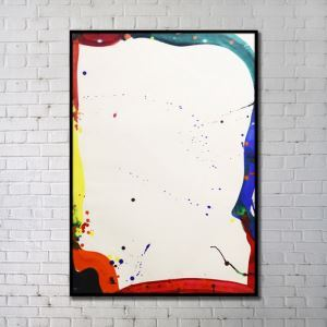 Contemporary Wall Art Abstract Color Block Print with Black Frame 24'*36' D