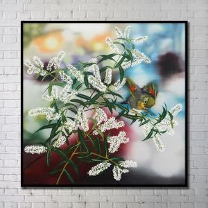 Contemporary Wall Art Flowers Abstract Wall Print with Black Frame 40'*40' H