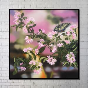 Contemporary Wall Art Flowers Abstract Wall Print with Black Frame 40'*40' L
