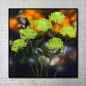 Contemporary Wall Art Flowers Abstract Wall Print with Black Frame 40'*40' M