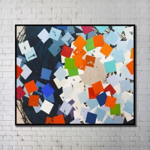 Contemporary Wall Art Bright Abstract Wall Print with Black Frame 48'*36' F