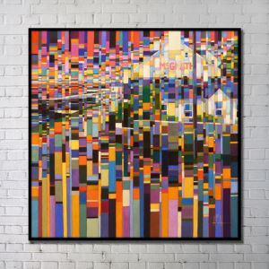Contemporary Wall Art Bright Abstract Wall Print with Black Frame 40'*40' H